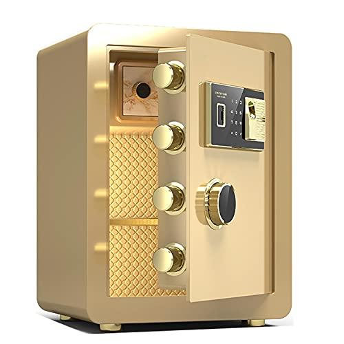 Caja Fuerte Ignífuga De Seguridad Electrónica -45CM, Caja De Seguridad con Alarma Y Huella Biométrica, Caja De Almacenamiento De Efectivo para Joyería De Oficina En Casa (Color : Gold)