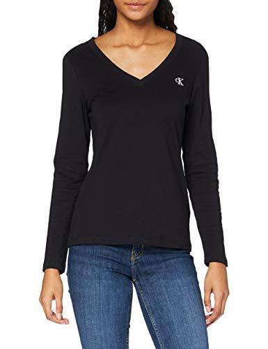 Calvin Klein Jeans Damen Stretch V-Neck Ls Hemd, Ck Schwarz, XS