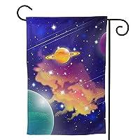 魔法の宇宙 のぼり旗 ガーデンフラッグ 両面 防風 サイン 休日を祝う 美しい 庭の装飾 アンティークの冬 ガーデンバナー ファッション 屋外装飾 贈り物