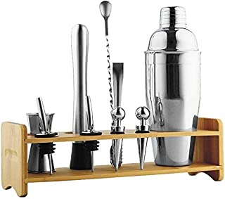 Scra AC Cocktail maken Set met bamboestand, geïntegreerde filterloze verdunning, Home Bar Tool Set Cocktail roestvrij staal