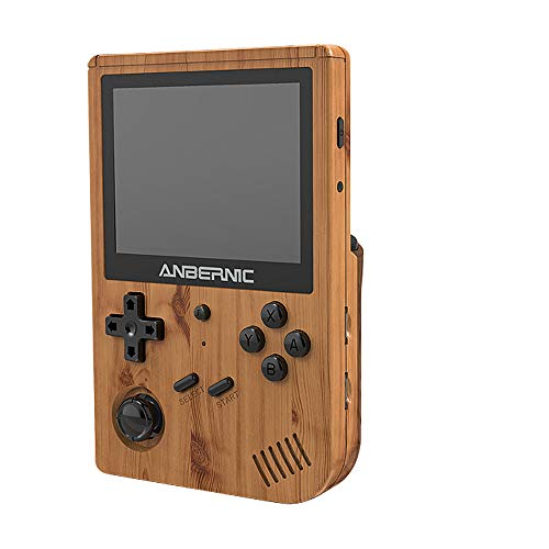 HAIHUANG RG351V Handheld Game Console,Plug & Play Video Games Supports Double TF Extend 256GB,Portable Game Console 3.5 Inch IPS Screen 2521 Games (Wood Grain)