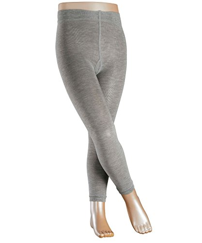 FALKE Kinder Leggings Active Warm, Wollgemisch, 1 Stück, Grau (Mid Grey Melange 3530), Größe: 110-116