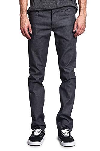 Victorious Men's Skinny Slim Fit Stretch Raw Denim Jeans DL936 - Charcoal - 30/32