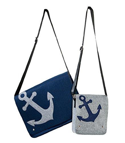 1 x Städtetour/Kurier Tasche Filz grau/blau m. Anker Länge 40 cm, Umhängetasche, Shoppingtasche (Farbvariante Links (Stückpreis))