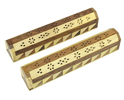 COTTON CRAFT- 2 Pack - Coffin Style Wooden Incense Burner Holder - Handmade from Beautiful Combination of Sheesham and Mango Wood - Size 12.5 x 5.5 x2.5