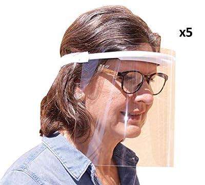 Pack de 5 viseras de protección facial pensadas para proteger la boca, naríz, ojos y cara de cualquier contacto o salpicadura. Cada visera incluye 3 agujeros de ventilación en la parte superior para que la pantalla se desempañe rápidamente. También i...