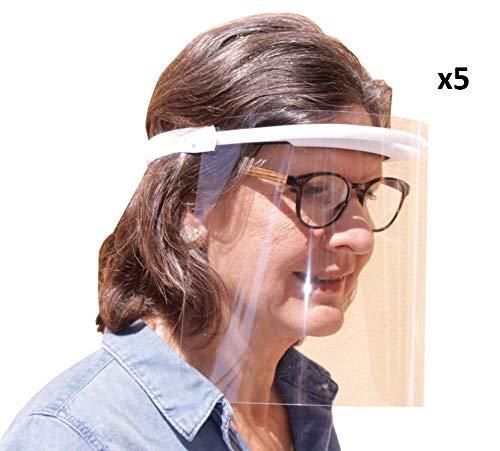KMINA PRO - Pantalla Protección Facial Transparente (Pack x5 uds), Visera Protección Facial, Protector Facial con Separación y Agujeros de Ventilación, Fabricado en España
