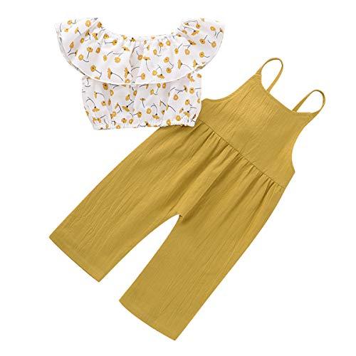 DaMohony - Completino da neonato per bambina, con motivo floreale, senza maniche, maglietta + salopette, tutina giallo e bianco. 90 cm (18- 24 mesi)