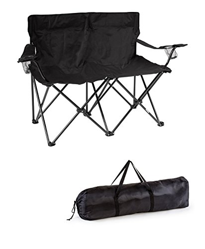 Trademark Innovations, Black Loveseat Style Double Camp Chair with Steel Frame