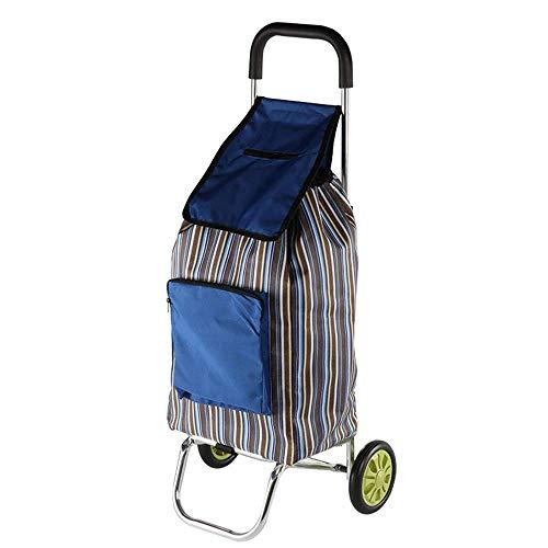 DSENIW QIDOFAN - Carro de la compra plegable de tela Oxford, carrito de la compra, carrito de la compra, 2 ruedas grandes, para el hogar, carrito de la compra ligero (color: azul, tamaño: libre)