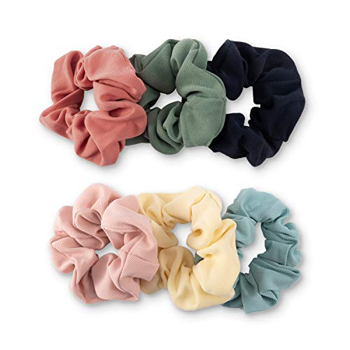 YOHAMA 6 pcs Fashion Solid Colors Fabric Elastic Hair Scrunchies Good for Girls Women Wrap Simple Ponytail Decoration Bun and Dance Competition Hairstyle.