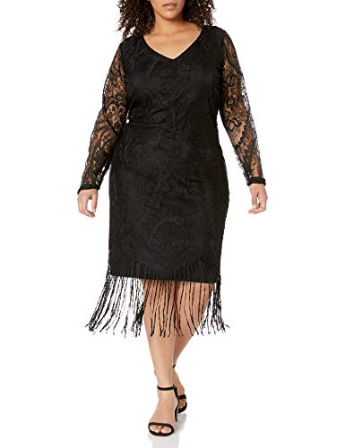 Junarose Damen Langarm-Kleid in Übergröße, Bovie - Schwarz - 1X Plus