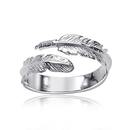 Materia Schmuck 925 Silber Ring Feder - Silber Damen Ring offen in Gr. 51-60 größenverstellbar #SR-90