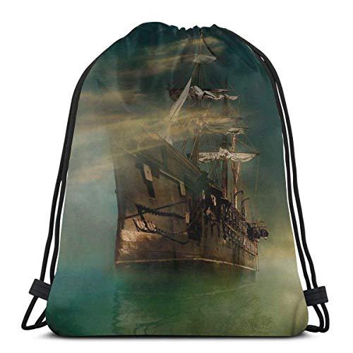 Bolsa de deporte con cordón para gimnasio, cincha de viaje, para mujeres, hombres, niños, un fantástico barco antiguo de vela en calma mar brumoso clima marino tema