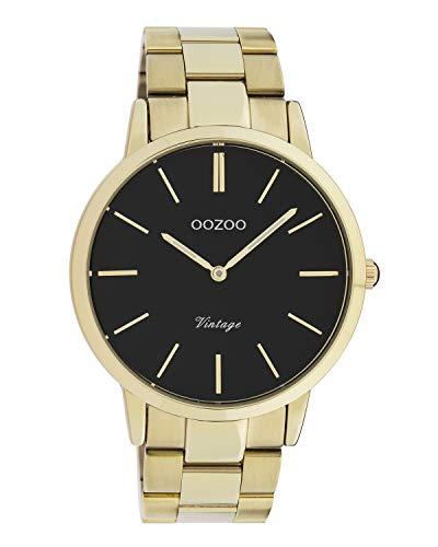 Oozoo Vintage Herrenuhr mit Edelstahl Glieder Armband Flach 42 MM Goldfarben/Schwarz C20023
