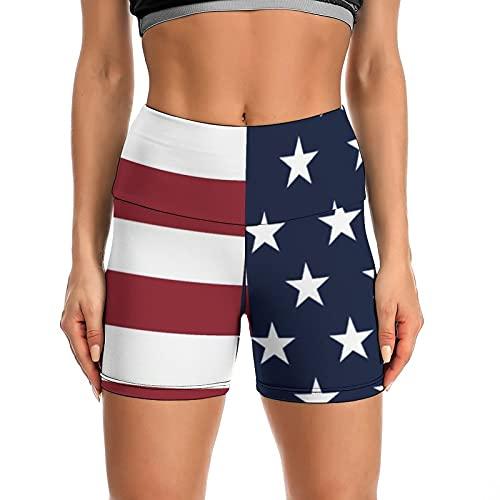 Nultico Women's High Waisted USA Flag Patriotic Shorts Cross Waist Workout Yoga Biker Running Shorts
