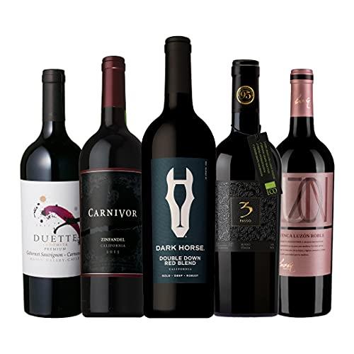ワインセット ダークレッドワイン 濃い旨赤5本セット 飲み比べセット 赤ワイン フルボディ 重口 (Amazon出荷)