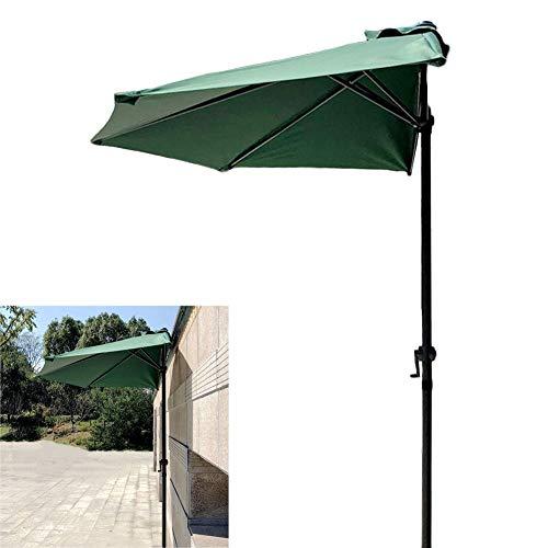 ZCJB Parasol Mur Demi-Rond/Parasol, Ø 270cm Polyester Parapluie Sun Shade pour Balcon/Patio/Pêche/Cour Arrière, Vert