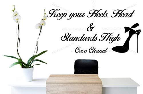 Dozili Wandtattoo, Motiv Coco Chanel Zitat Keep Your Heels Up, Vinyl, 70 x 32 cm