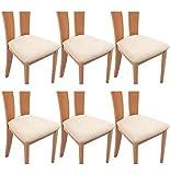 TIANSHU Funda Asiento Silla,Fundas elásticas para Asientos de sillas de Comedor y Oficina Jacquard Poliéster Elástica Fundas sillas Duradera(Paquete de 6,Marfil)