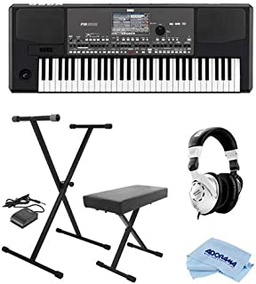Korg Professional 61-Key Arranger Keyboard w/Built-in Speakers and TouchView Color TFT Display - Bundle with Keyboard Stand/Bench Pack with Sustain Pedal, Behringer HPS3000 Studio Headphones, Cloth
