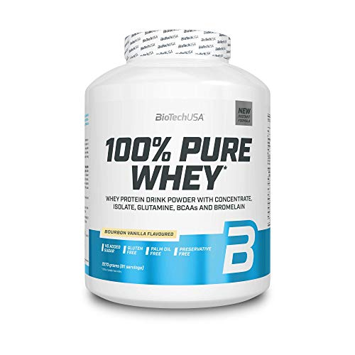 BioTechUSA 100% Pure Whey Protein Complex with bromelain Enzyme, Amino acids, sweeteners and no Added Sugar, Palm Oil Free, 2.27 kg, Bourbon Vanilla