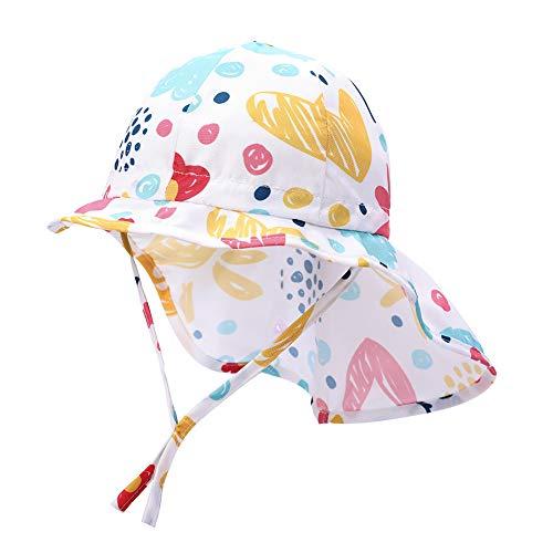 Baby Sonnenhut Jungen Mädchen Sonnenhut Anti-UV Schutz Hut Sommerhut mit Bindebändern und Nackenschutz Sommermütze für das Schwimmen im Freien, Reisen, Beach Play, Summer,Druck auf Weiß, XL (51)