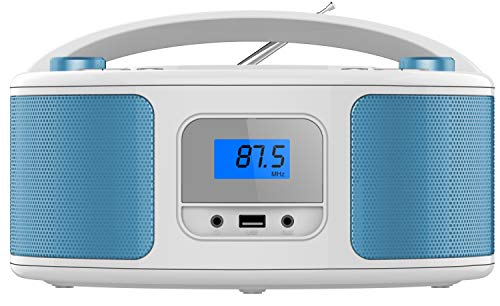 Tragbarer CD-Player | Boombox | CD/CD-R | USB | FM Radio | AUX-In | Kopfhöreranschluss | CD Player | Kinder Radio | CD-Radio | Stereoanlage | Kompaktanlage (Balta Blue)