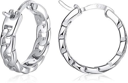 Milacolato S925 Sterling Silver Huggie Hoop Earrings Cartilage Earrings 18K Gold/White Gold Plated Curb Chain Huggie Hoops Small Hoops Earrings for Women Men