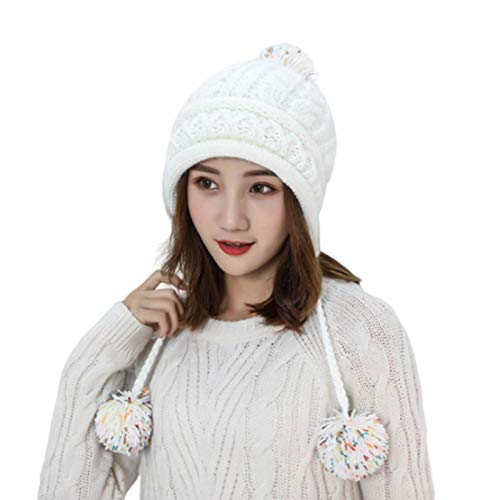HIOD Sombrero de Punto de Lana para Mujer Gorros Cálido de Invierno para Niña Estilo Suave y Lindo con 2 Bolas de Pelusa