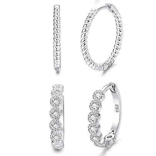 YADOCA 2 Paare Ohrringe Silber Creolen Damen Glitzer Zirkonia Huggie Ohrringe Set Hypoallergen Creolen Silber 925 für Frauen Mädchen
