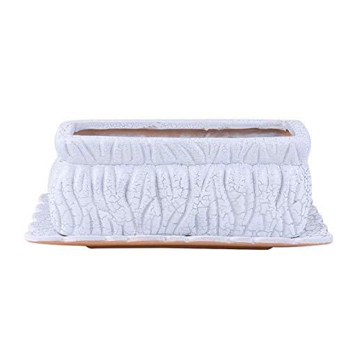 Alqn Maceta rectangular de cerámica, grande, carnosa, de escritorio, plantas en macetas, decoración de jardinería, contenedores decorativos para plantas con platillos, macetas y jardineras de jardín