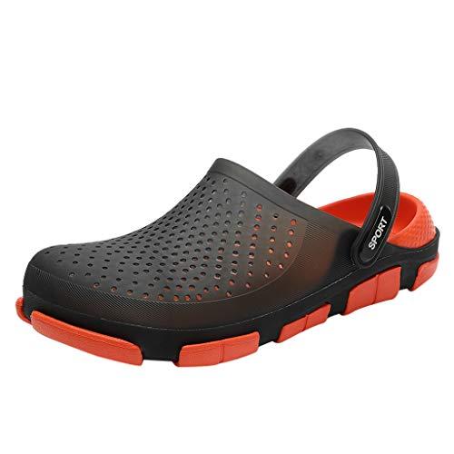 Strand Sandalen,SANFASHION Männer Flache Dauerhafte Leichte Atmungsaktive Hausschuhe Loch Schuhe Roman Slipper