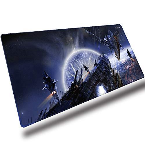 EXCO Mouse Pad Gaming XXL - Rutschfestes Gummi-Mauspad (900 * 400 mm) für Computer, PCs und Laptops - Star, Planet