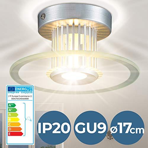 Lámpara de Techo - CEE: A++ a E, Ø17cm, GU9, Redondo, Moderna - Luz de Techo, Iluminación Interior, Lámpara de Plafón - para Sala de Estar, Dormitorio, Cocina, Comedor, Pasillo, Baño