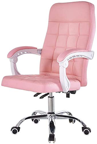 Task Office Chair Computer Ergonomischer Empfang an der Rezeption Home Desk Kunstleder verstellbar 135 ° liegend Klapparme Max. Belastung 200 kg Pink