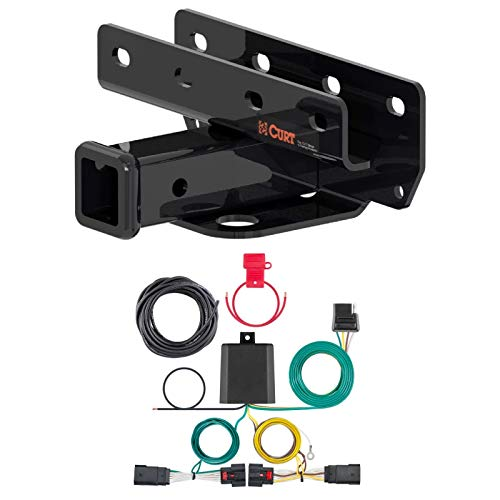 Curt 13392 56407 Class 3 Trailer Hitch 2-Inch Receiver with Custom 4-Way Flat Wiring Harness Compatible with Wrangler JL
