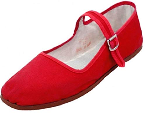 Emuna Womens Cotton Mary Jane Shoes Ballerina Ballet Flats Shoes (6, Red 114)