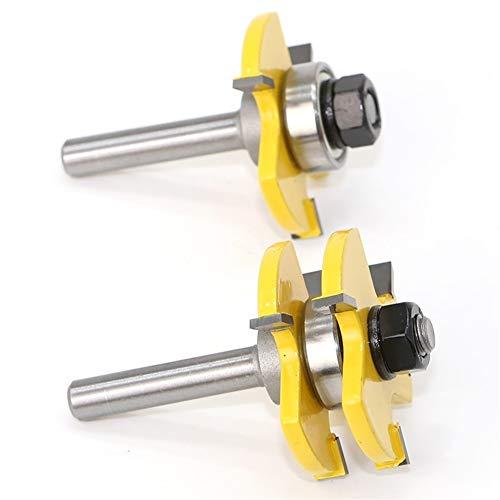 Bit de cortador de fresado 2 Pc 8mm caña alta calidad de lengüeta y ranura Asamblea Conjunta, Router Bit Set, 3/4' de corte de la herramienta madera