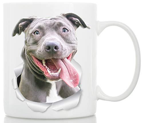 Taza de café de cerámica con texto en inglés 'Happy Pit Bull Bull', ideal como regalo de Pitbull, divertida y bonita taza de café para amantes de los perros y propietarios (15 onzas)