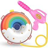Water Gun Backpack Water Blaster for Kids -Water Shooter with Tank Lady Bug Toys for Kids- Summer Outdoor Toys for Pool Beach Water Toys for Kids Rainbow and Cloud