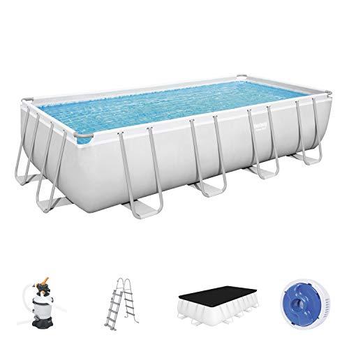Power Steel Frame Pool Komplett-Set, eckig, mit Sandfilteranlage, Sicherheitsleiter & Abdeckplane 488 x 244 x 122 cm