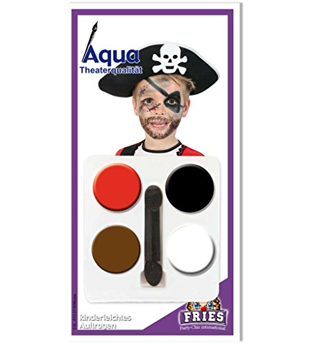 Aqua Schmink-Set Pirat,4 Farben inkl. Pinsel, Theaterqualität *NEU bei Pibivibi