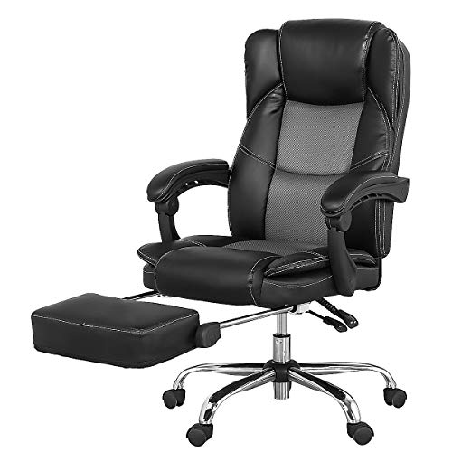 High Back Office Chair Modern Adjustable Reclining Executive Swivel PU Leather Computer Desk Chair with Armrest Foldable Footrest for Women Adults Men, Black