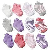 DEBAIJIA 12 Pares de Calcetines de Algodón para Bebé 0-1 Años Suaves Calcetines Respirable Niños Niñas Cómodos Primavera Verano Otoño - S