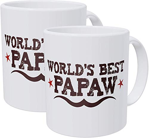 Willcallyou Pack of 2 World's Best Papaw Grandfather 11 Ounces Funny White Coffee Mug