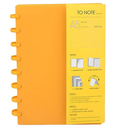 Cuaderno, carpeta de papel recargable del cuaderno del agujero de la seta para Ministerio del Interior A5(Tablero de ajedrez (naranja))