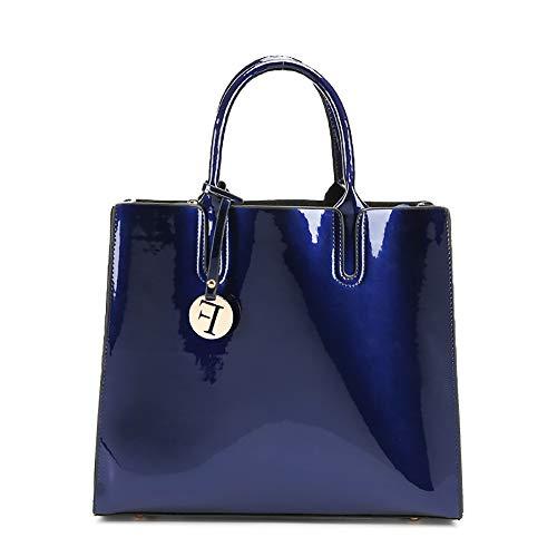 XIANGHUi Donna Borsetta a Tracolla, borsa a tracolla autunnale e invernale, borse in vernice, borsa a spalla singola diagonale lucida-Blu