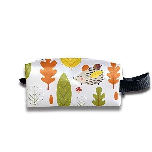 Herbst Wald Igel dekorative Blätter Reisen Make-up Kosmetiktasche, tragbare Bürsten Fall Kulturbeutel Travel Kit Organizer Kosmetiktasche