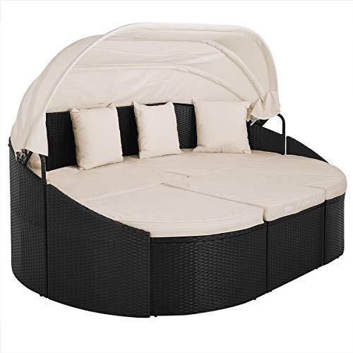 Deuba Poly Rattan XXL Sonneninsel 230 cm Faltbares Dach 7cm Dicke Auflagen 3 Kissen Outdoor Schwarz Gartenliege Gartenmöbel Set